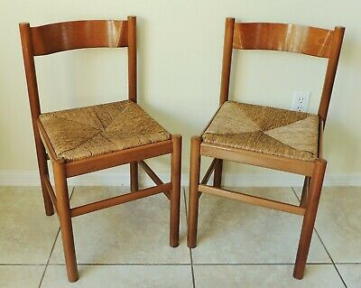 Pair Antique/Vtg CARIMATE Vico Magistretti ITALY Wood & Rush Side Dining Chairs