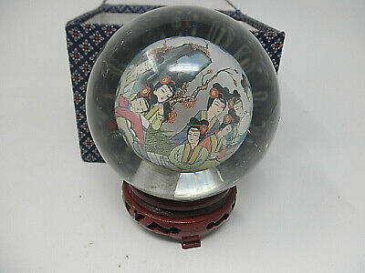 """Chinese Reverse Inside Hand Painted Ladies Art Glass Paperweight 41/2"""""""