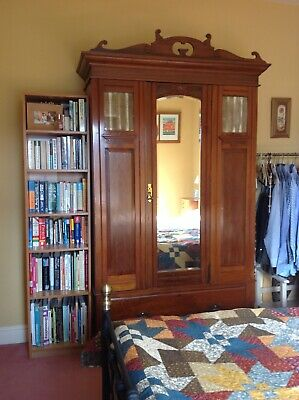 Beautiful Solid Wood Antique Edwardian Wardrobe With Bevelled Edge Mirror