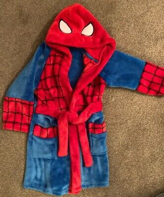 Boys Spiderman Dressing Gown Age Small 2-4 Yrs