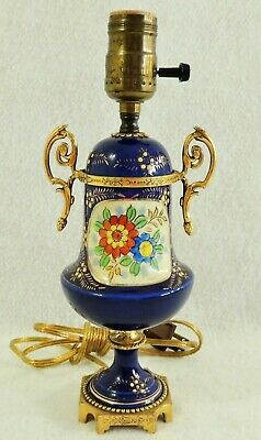 Small Antique/Vtg Cobalt Blue Porcelain Gold Gilt Hd Ptd Flower Brass Table Lamp