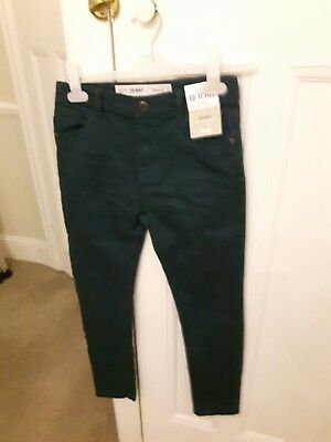 Boys Dark  Green Denim Slim Skinny Fit Jeans Age 10 -11 Years BNWT