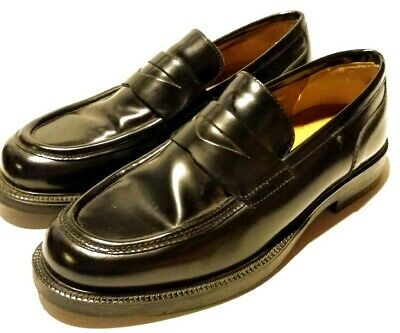 Vintage Alfani Black Leather Dress Shoes Loafers Mens Size 10 Made In Italy