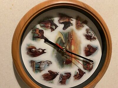 Horse ANIMAL SOUNDS CHIMING WALL CLOCK , boxed New Boxed Stables Etc