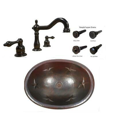 "19"" Oval Drop in / Vessel Sink with STAR Design plus 2 Handle Faucet & Drain"