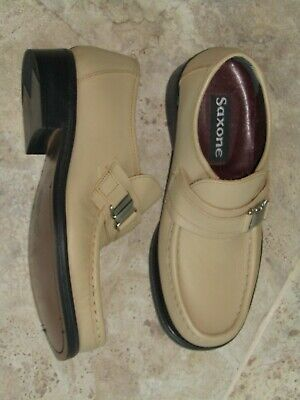 Saxone cream leather slip on moccasin loafer shoes uk 7 rare vintage unworn 70s