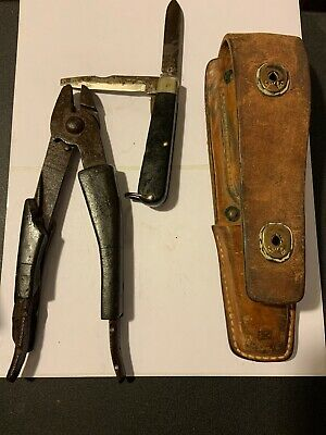 US Army Leather Tool Pouch Lineman U.S. Pliers Camilus  Knife. (k2