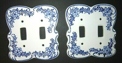 Vintage Ceramic Deft Blue White Hand Painted Double Switch Plate Floral Design