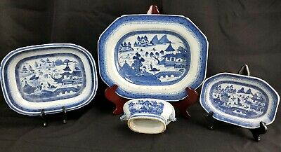 Good Collection Of Antique Chinese Blue And White Canton Porcelain Excellent...
