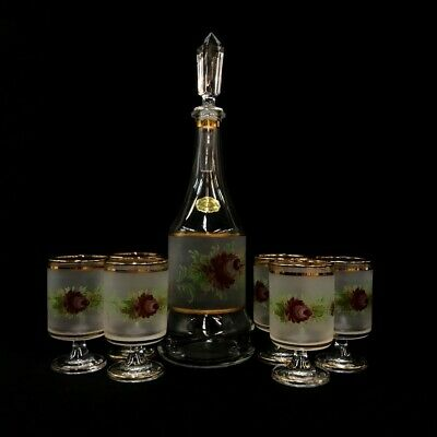 Decanter Cordial Stem Glasses Decor Cristallerie Flowers Italy Hand Painted Rare