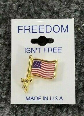 AMERICAN FLAG LAPEL PIN SMALL *MADE IN USA* Hat Tie Tack Patriotic (X 2)