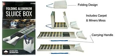"""50"""" Folding Aluminum Sluice Box 15"""" Folded Down Comes With Carpet & Miners Moss"""