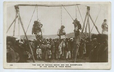"""1929 Rp Postcard """"The End Of Bachha Sakoo & His Accomplices"""" Public Hanging H37."""