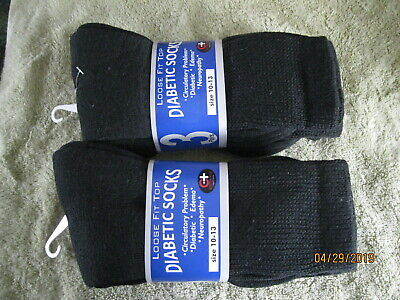 Nice Diabetic Crew Socks Circulatory Health Cotton Loose Fit Top 3 Pairs 10-13