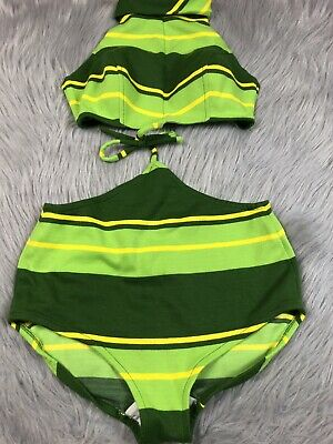 Vintage 60s Womens Tie Together Monokini Green Yellow Striped Swimsuit