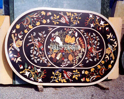 5'x3' Black Marble Oval Dining Room Top Table Marquetry Birds Arts Inlaid Decor