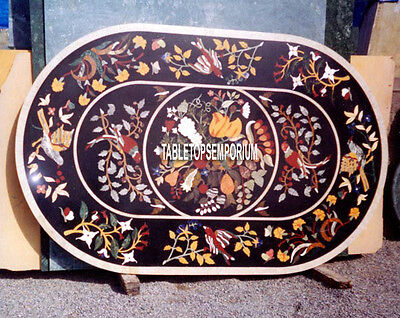 6'x3' Oval Marquetry Birds Dining Table Black Marble Top Inlay Occasion Gift Art