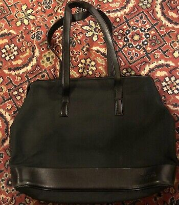 TUMI Tote Satchel Black Leather Trim Ballistic Nylon 74231570910900002851