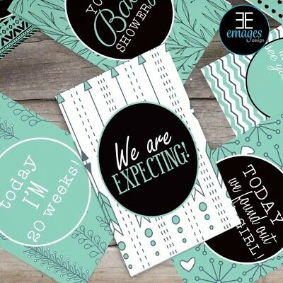 Baby Pregnancy Mint  Pattern Milestone Cards Black