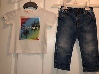 Baby Boys Outfit - Next Jeans & H&M T-shirt - Age 12/18mths