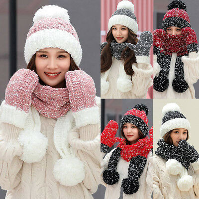 3PCS Women's Warm Multicolor Knitted Venonat Beanie Hat+Scarf+Gloves Set G
