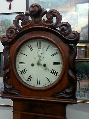 Rococo style antique large Longcase clock twin weights brass pendulum