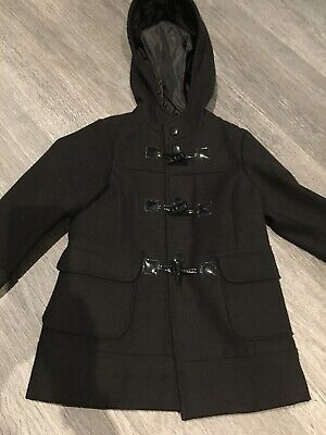 NEXT Girls Black Duffel Coat Jacket With Hood, Age 5-6, Immaculate Condition