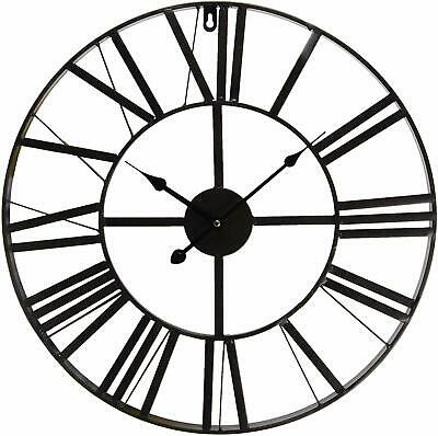 Clayre & Eef  Wall Clock Large Country House Style Metal Diameter, Black