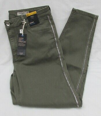 Ladies Marks & Spencer Khaki Super Soft Jeans With Silver Glitter Trim Size 16