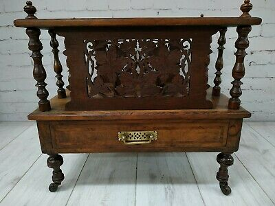 Victorian Wooden Antique Canterbury Burr Walnut Wooden Decorative Magazine Rack