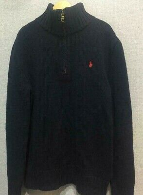 POLO RALPH LAUREN boys NAVY BLUE jumper SIZE 10-12