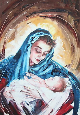 Realist Religious Portraits Oil Painting Virgin Mary Signed