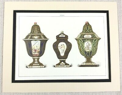 1988 Vintage Print Antique French Sevres Porcelain Cherub Vase Lidded Urns Jars