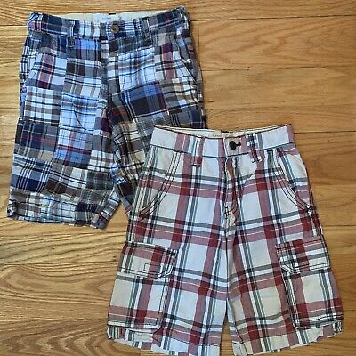 Two Pairs Of Old Navy Plaid Cargo Style  shorts boys size 7