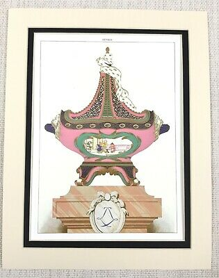 1988 Vintage Print Antique French Sevres Porcelain Chinese Table Centerpiece Urn