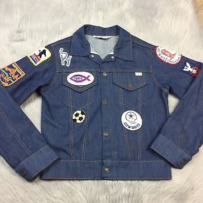 Vintage 70s Jcpenney Boys Dark Denim Jean Snap Up Jacket With Patches