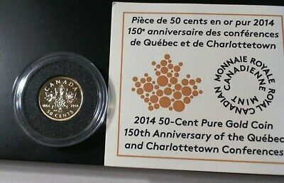 2014 CANADA PROOF 1/25oz GOLD QUEBEC / CHARLOTTETOWN .9999 Fine  COA 3626/7500