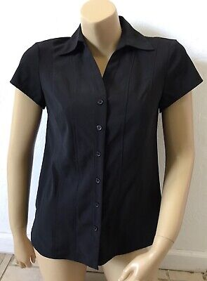 STYLE & CO Womens Size 4 Black Short Sleeve Wrinkle Free Button Front Shirt