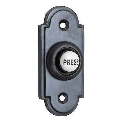 Matt Black Brass Shaped Victorian style Door Bell Push Switch (MB1417)