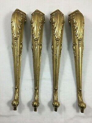 Full set of 4 antique french brass feet gilt ormolu furniture table ornement