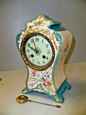 Antique French Mini 8 Day T & S China Clock W Porc Dial
