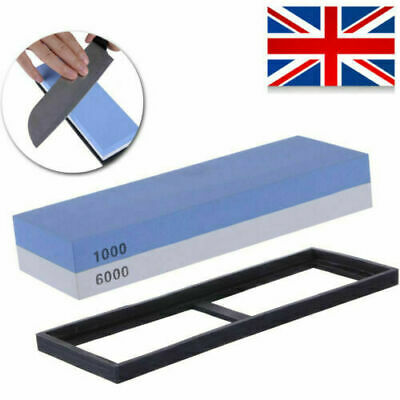 Anti Slip Knife Sharpener Stone 1000/6000 Combination Double Sided Whetstone NEW