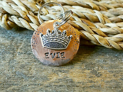 Personalized CROWN Dog Name Tag Handmade Copper Stamped Pet ID Collar Custom Cat