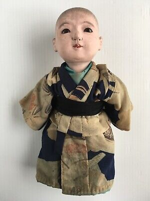 "Antique Japanese Oriental Ichimatsu Ningyo Chonmage 11"" Infant Boy Doll RARE!"