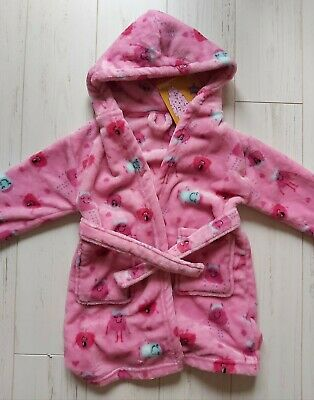 Girls Dressing Gown ROBE Age 3-4 ALIEN cute cosy fleece hooded NEW -