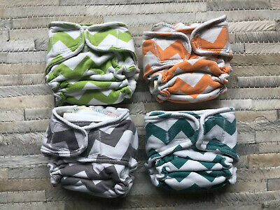 Sow Much Love WAHM / Etsy Chevron Cloth Diapers & Inserts LOT OF 4   VGUC