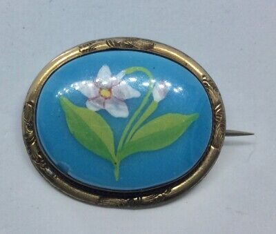 Antique Victorian / Edwardian Blue Glass Hand Painted Flower Brooch