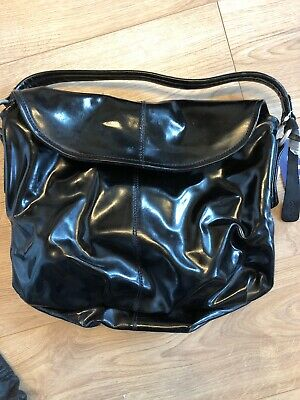 New Clarks *Temple* Deep Black Genuine Patent Leather Hobo Style Large Handbag!