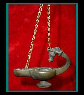 ANTIQUE ROMAN / Pompeii / GREEK BRONZE Hanging OIL LAMP with Horse Head Handle