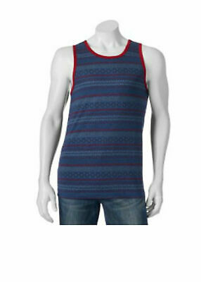 LEVI'S Strauss Men's Small Tank Top Blue Red Tribal Soft Cotton Blend Summer NWT